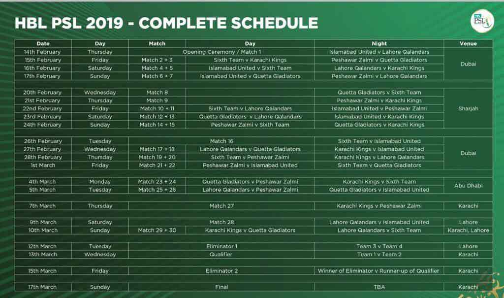 PSL Schedule 2019 for Matches & Teams, Cricket News