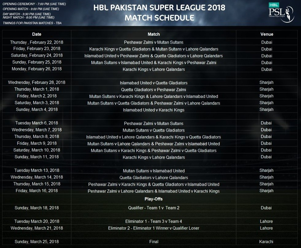 PSL Schedule 2018 for Matches, Cricket News