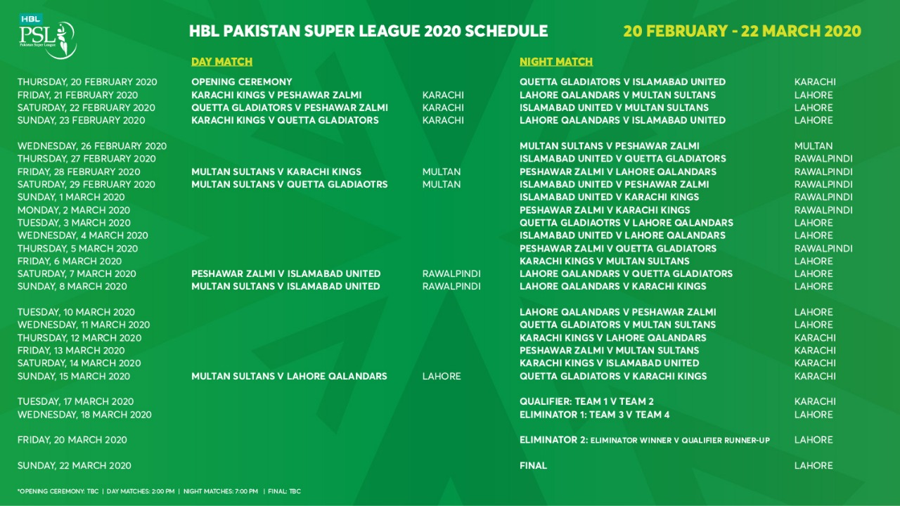 Complete PSL 5 Schedule 2020 Time table, Cricket News