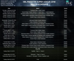 PSL Schedule 2018 for Matches, PSL News