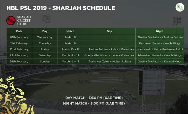 HBL PSL Sharjah Schedule